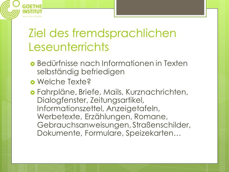Ziel des fremdsprachlichen Leseunterrichts  Bedürfnisse nach Informationen in Texten selbständig befriedigen  Welche Texte.
