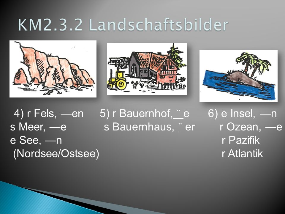 4) r Fels, —en 5) r Bauernhof, ¨ e 6) e Insel, —n s Meer, —e s Bauernhaus, ¨ er r Ozean, —e e See, —n r Pazifik (Nordsee/Ostsee) r Atlantik