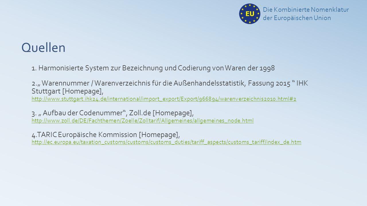 """Quellen 1. Harmonisierte System zur Bezeichnung und Codierung von Waren der 1998 2."""" Warennummer / Warenverzeichnis für die Außenhandelsstatistik, Fas"""