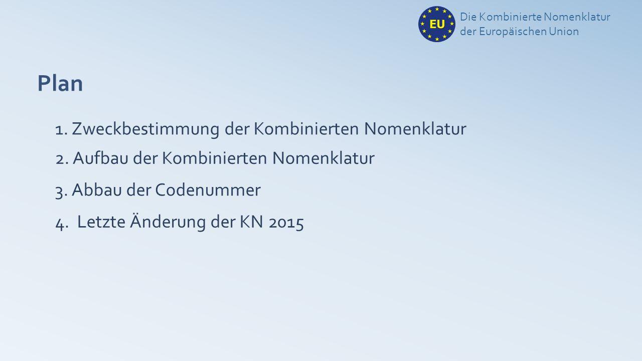 Plan 1. Zweckbestimmung der Kombinierten Nomenklatur Die Kombinierte Nomenklatur der Europäischen Union 2. Aufbau der Kombinierten Nomenklatur 3. Abba