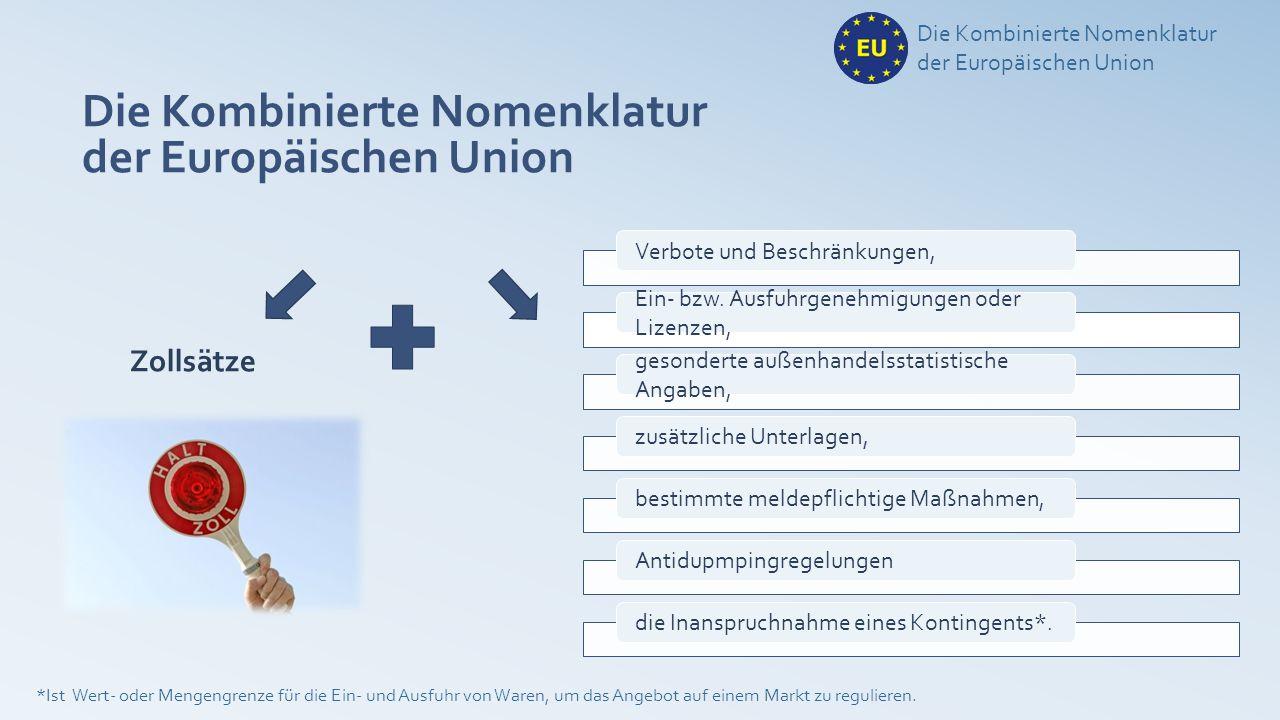 Basis für die KN ist … Die Kombinierte Nomenklatur der Europäischen Union erarbeitet unter der Schirmherrschaft der Weltzollorganisation (WZO).