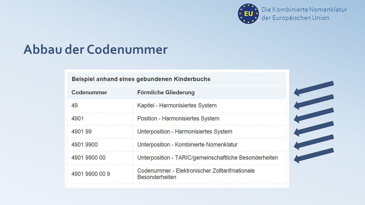 Abbau der Codenummer Die Kombinierte Nomenklatur der Europäischen Union
