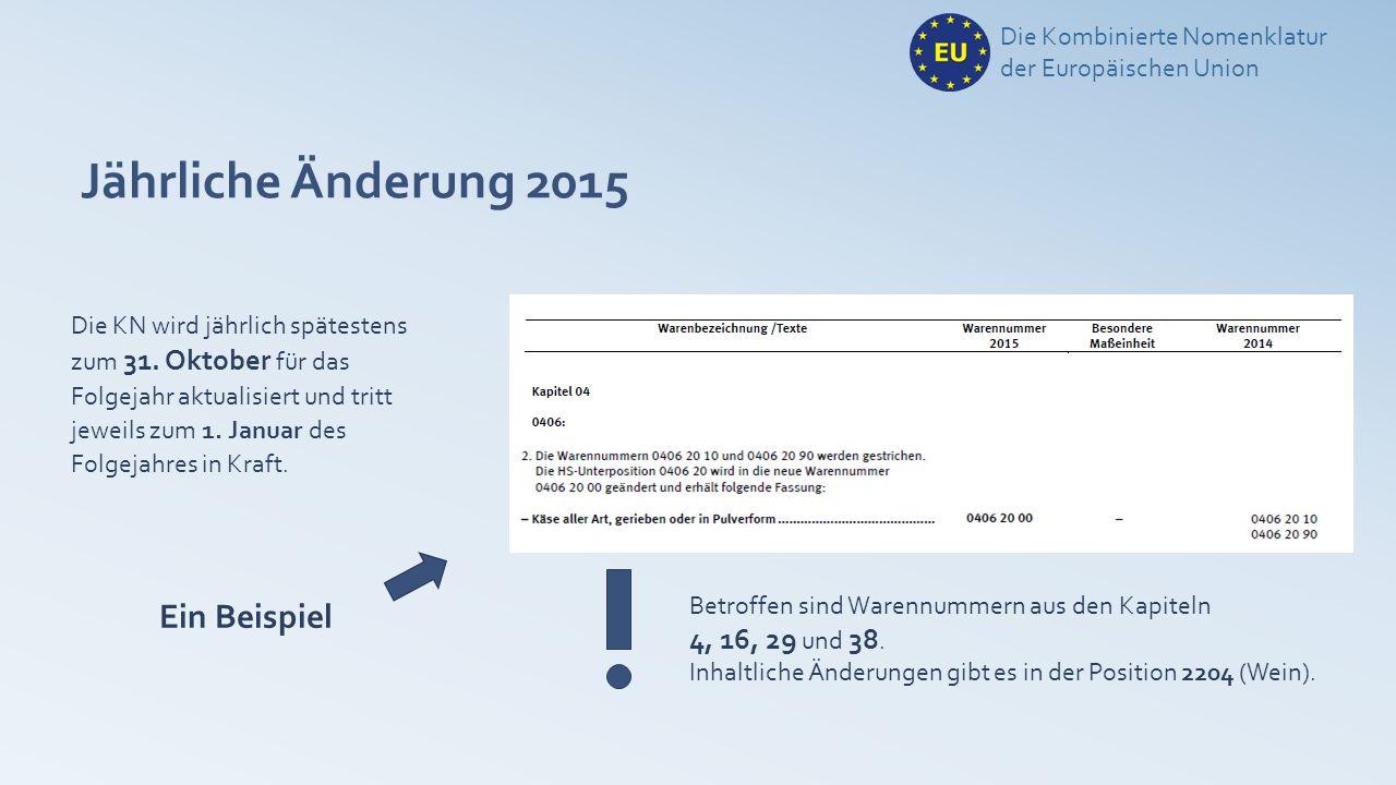 Jährliche Änderung 2015 Die Kombinierte Nomenklatur der Europäischen Union Die KN wird jährlich spätestens zum 31. Oktober für das Folgejahr aktualisi