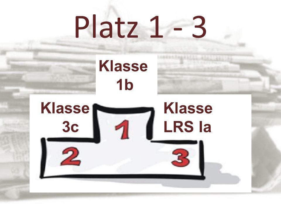 Platz 1 - 3 Klasse 1b Klasse LRS Ia Klasse 3c