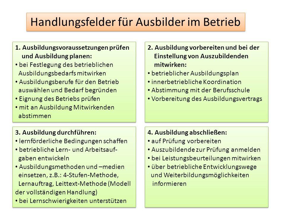 Handlungsfelder für Ausbilder im Betrieb 1.
