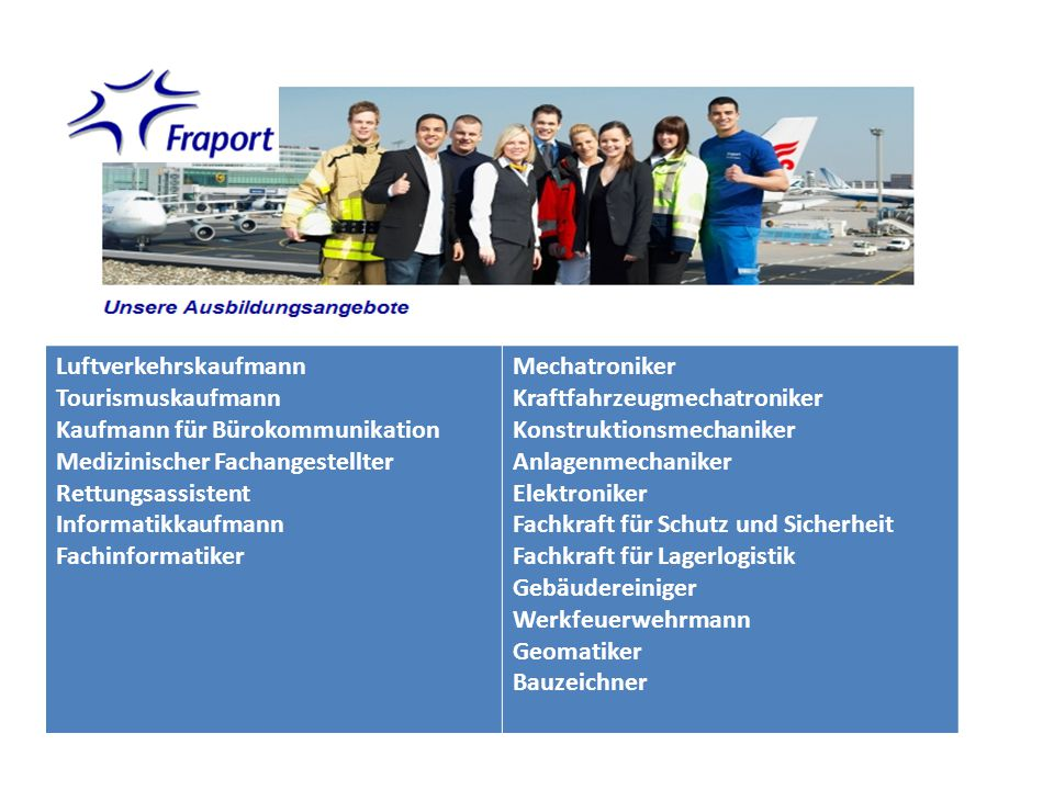 Luftverkehrskaufmann Tourismuskaufmann Kaufmann für Bürokommunikation Medizinischer Fachangestellter Rettungsassistent Informatikkaufmann Fachinformat
