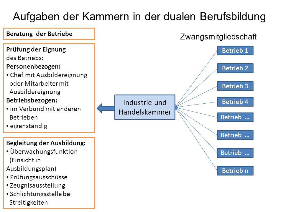 Industrie-und Handelskammer Betrieb 1 Betrieb 4 Betrieb 2 Betrieb 3 Betrieb … Betrieb n Aufgaben der Kammern in der dualen Berufsbildung Zwangsmitglie