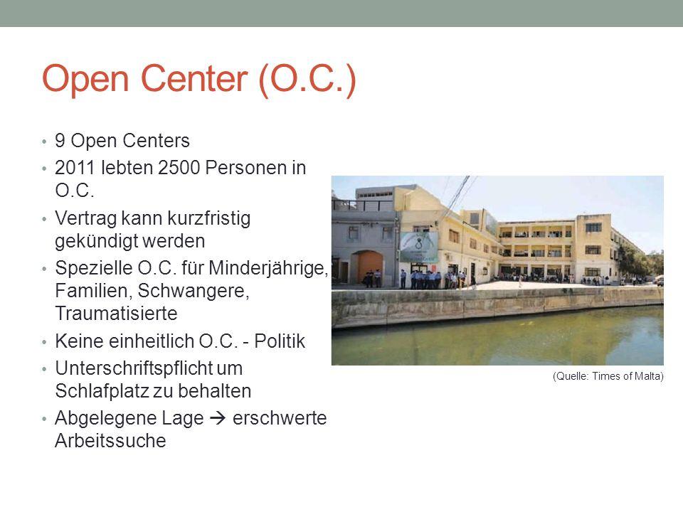 Open Center (O.C.) 9 Open Centers 2011 lebten 2500 Personen in O.C.
