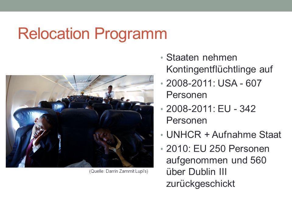 Relocation Programm Staaten nehmen Kontingentflüchtlinge auf 2008-2011: USA - 607 Personen 2008-2011: EU - 342 Personen UNHCR + Aufnahme Staat 2010: EU 250 Personen aufgenommen und 560 über Dublin III zurückgeschickt (Quelle: Darrin Zammit Lupi s)