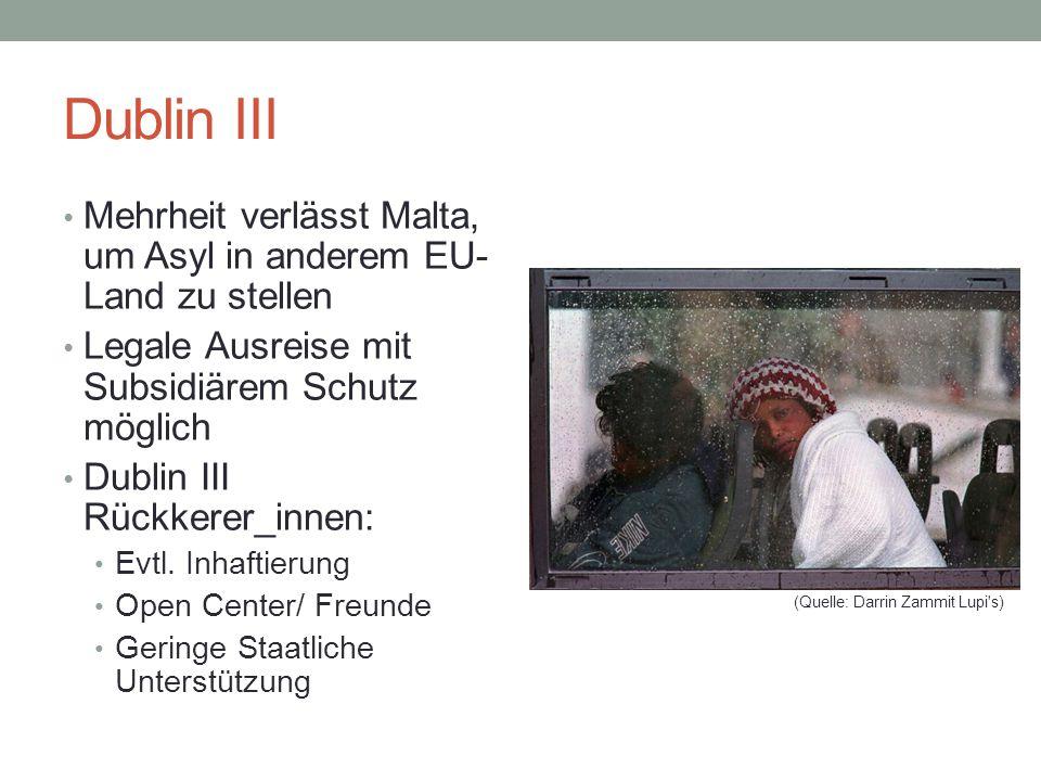 Dublin III Mehrheit verlässt Malta, um Asyl in anderem EU- Land zu stellen Legale Ausreise mit Subsidiärem Schutz möglich Dublin III Rückkerer_innen: Evtl.