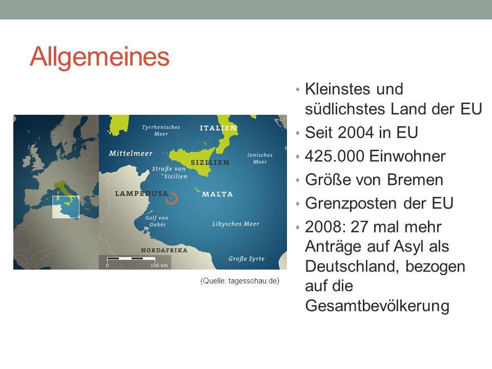 Allgemeines Kleinstes und südlichstes Land der EU Seit 2004 in EU 425.000 Einwohner Größe von Bremen Grenzposten der EU 2008: 27 mal mehr Anträge auf Asyl als Deutschland, bezogen auf die Gesamtbevölkerung (Quelle: tagesschau.de )