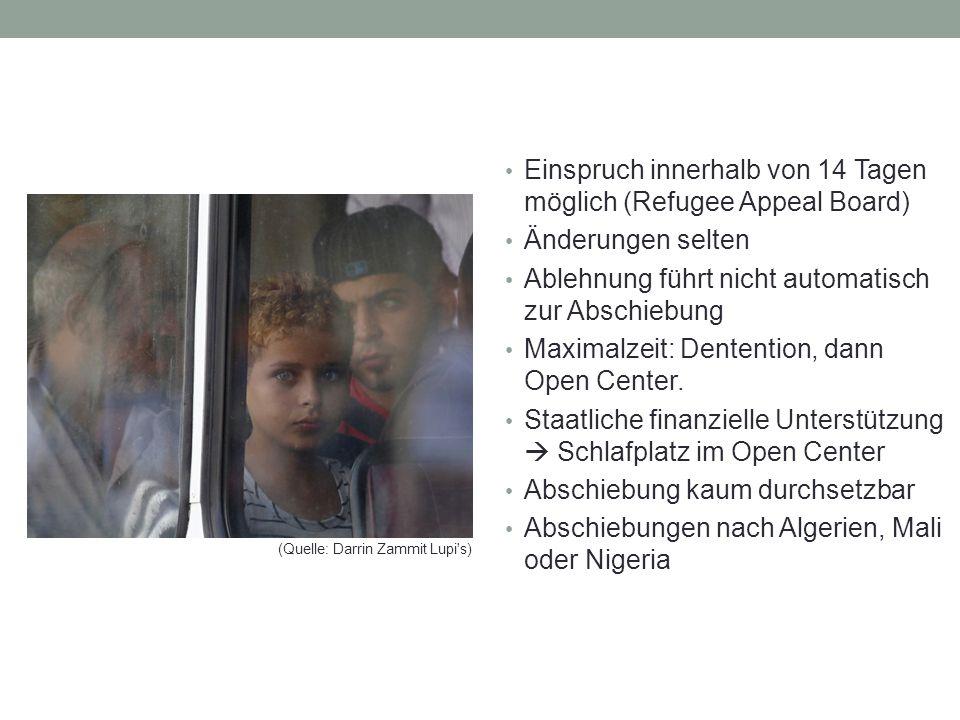Einspruch innerhalb von 14 Tagen möglich (Refugee Appeal Board) Änderungen selten Ablehnung führt nicht automatisch zur Abschiebung Maximalzeit: Dentention, dann Open Center.