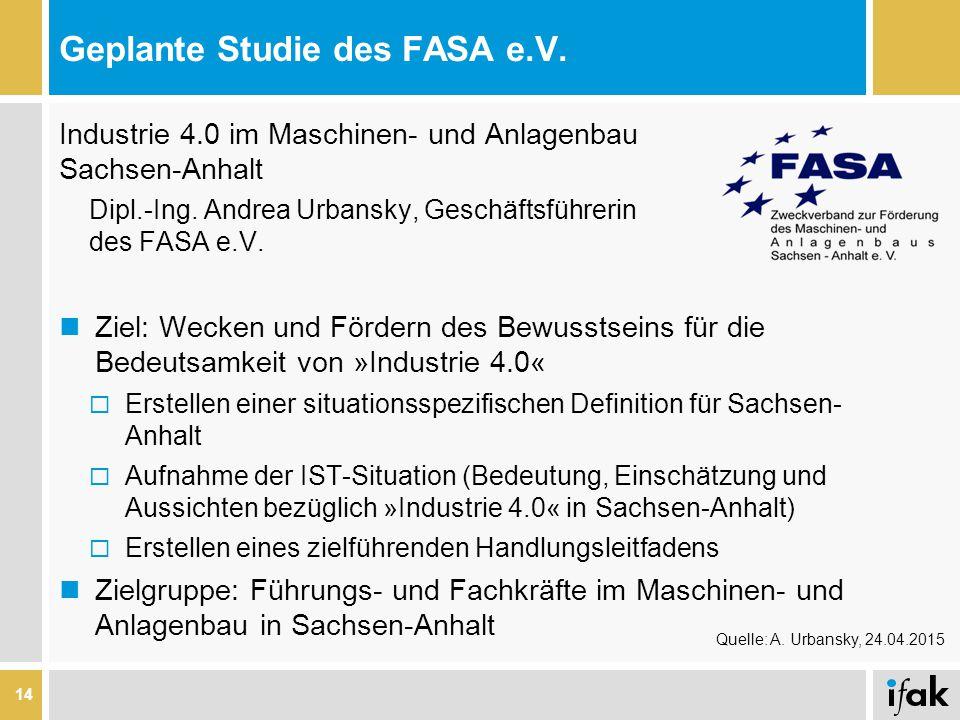 Geplante Studie des FASA e.V. Industrie 4.0 im Maschinen- und Anlagenbau Sachsen-Anhalt Dipl.-Ing. Andrea Urbansky, Geschäftsführerin des FASA e.V. Zi