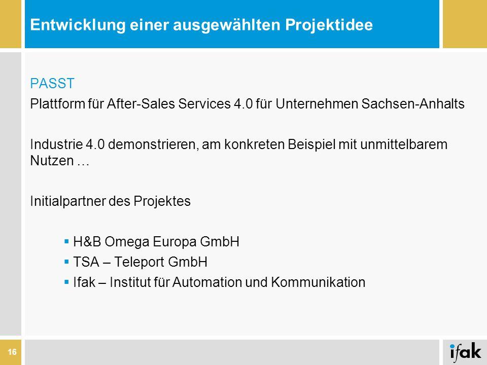 Entwicklung einer ausgewählten Projektidee PASST Plattform für After-Sales Services 4.0 für Unternehmen Sachsen-Anhalts Industrie 4.0 demonstrieren, a