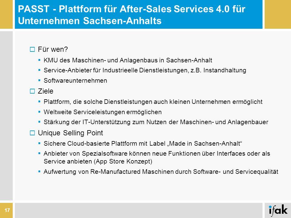 PASST - Plattform für After-Sales Services 4.0 für Unternehmen Sachsen-Anhalts  Für wen?  KMU des Maschinen- und Anlagenbaus in Sachsen-Anhalt  Ser