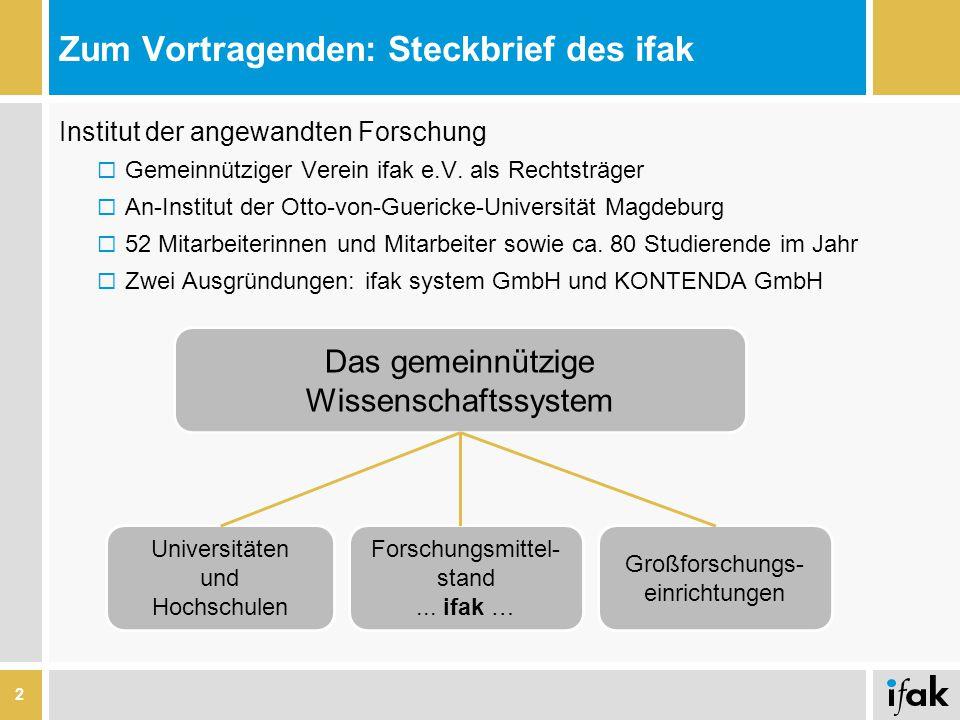 Zum Vortragenden: Steckbrief des ifak Institut der angewandten Forschung  Gemeinnütziger Verein ifak e.V. als Rechtsträger  An-Institut der Otto-von
