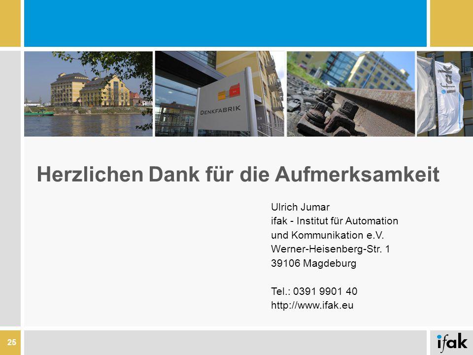 25 Herzlichen Dank für die Aufmerksamkeit Ulrich Jumar ifak - Institut für Automation und Kommunikation e.V. Werner-Heisenberg-Str. 1 39106 Magdeburg