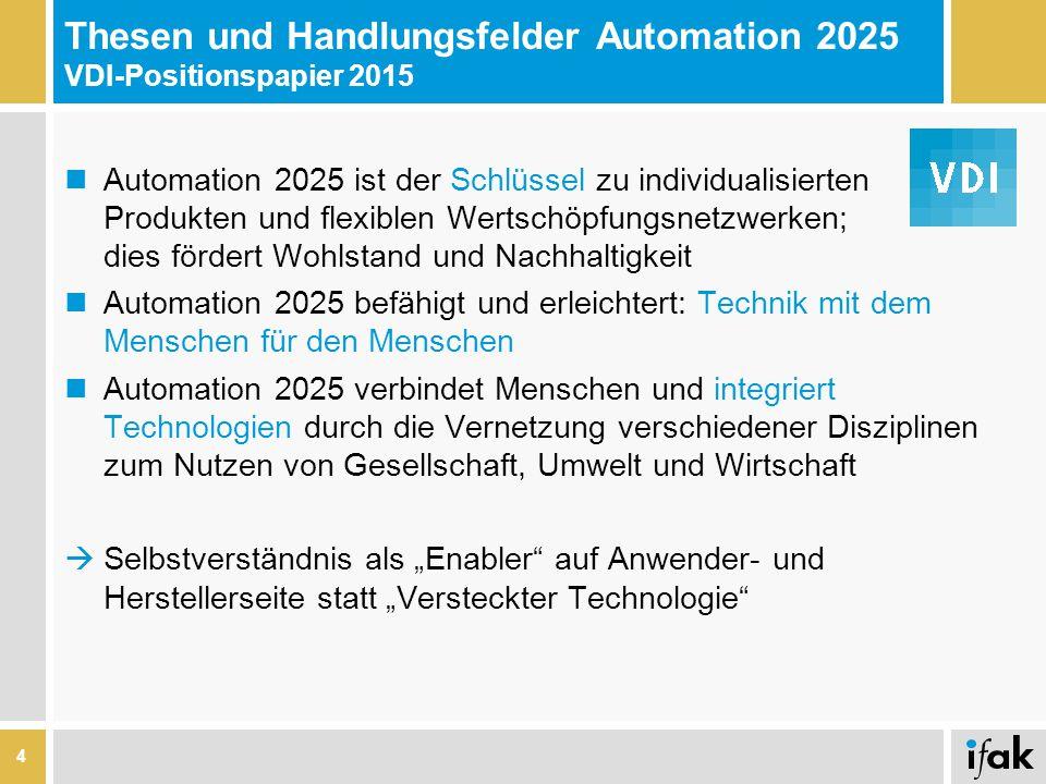 """Thesen und Handlungsfelder Automation 2025 VDI-Positionspapier 2015 Automation 2025 ist der Schlüssel zu individualisierten Produkten und flexiblen Wertschöpfungsnetzwerken; dies fördert Wohlstand und Nachhaltigkeit Automation 2025 befähigt und erleichtert: Technik mit dem Menschen für den Menschen Automation 2025 verbindet Menschen und integriert Technologien durch die Vernetzung verschiedener Disziplinen zum Nutzen von Gesellschaft, Umwelt und Wirtschaft  Selbstverständnis als """"Enabler auf Anwender- und Herstellerseite statt """"Versteckter Technologie 4"""