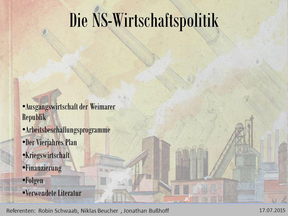 Die Ausgangswirtschaft der Weimarer Republik Durch den Versailler Vertrag und dadurch resultierende Grenzabtretungen standen Deutschland 1.