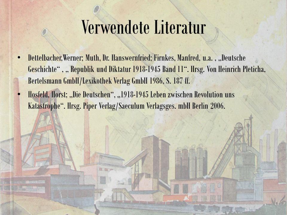Verwendete Literatur Dettelbacher,Werner; Muth, Dr.