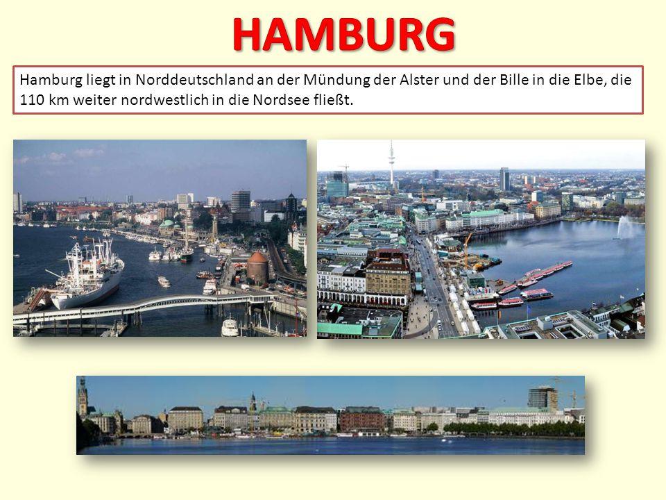 Hamburg liegt in Norddeutschland an der Mündung der Alster und der Bille in die Elbe, die 110 km weiter nordwestlich in die Nordsee fließt.