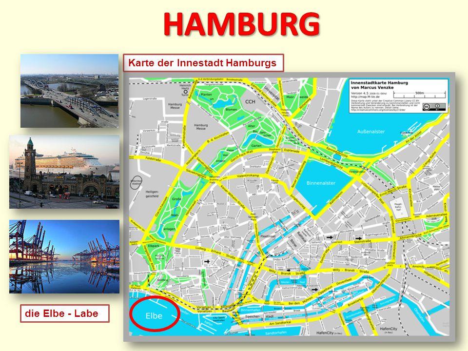 Karte der Innestadt Hamburgs die Elbe - Labe