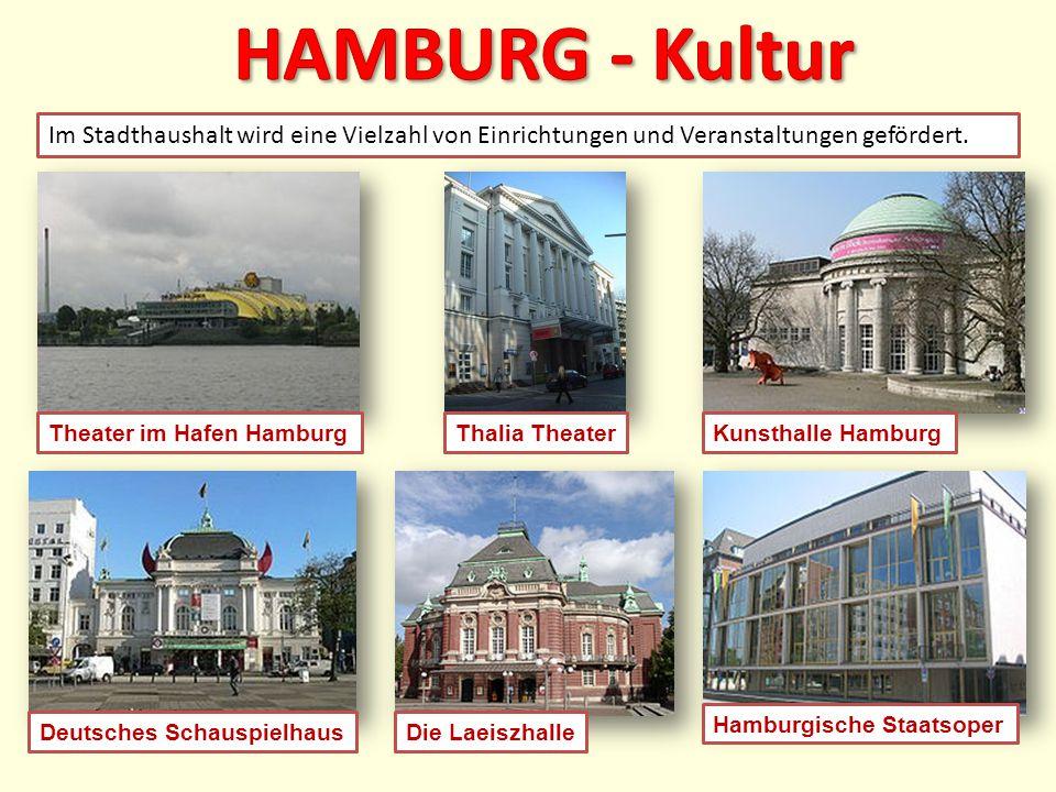Hamburgische Staatsoper Die LaeiszhalleDeutsches Schauspielhaus Im Stadthaushalt wird eine Vielzahl von Einrichtungen und Veranstaltungen gefördert. T