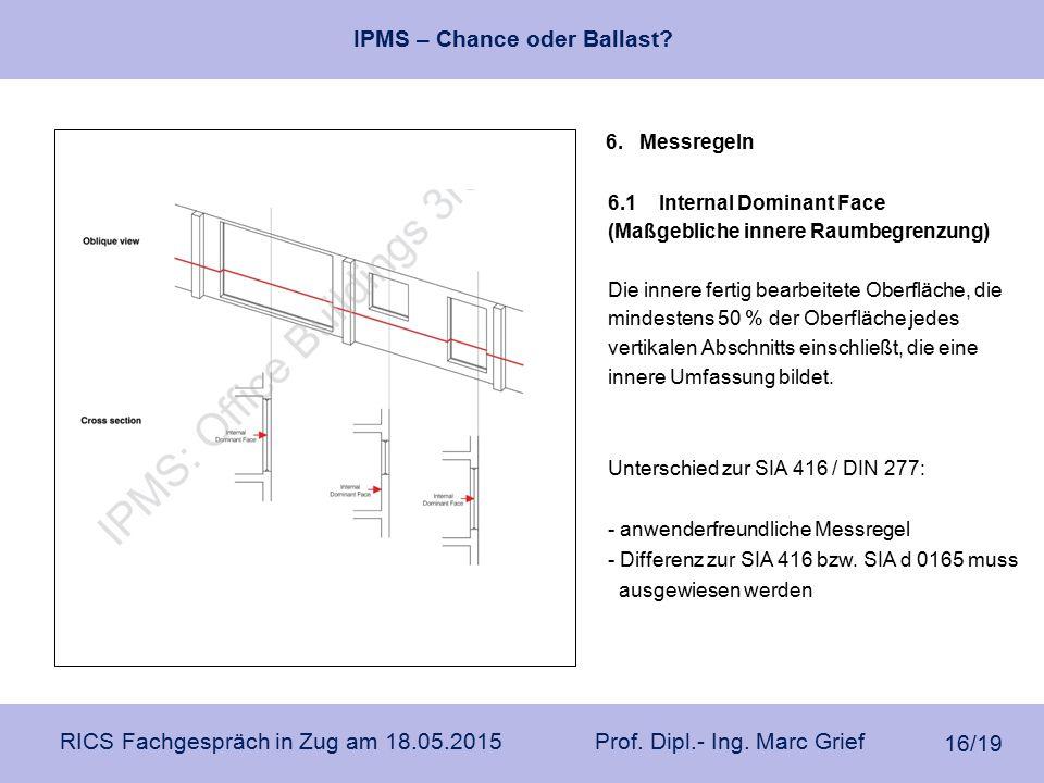 IPMS – Chance oder Ballast? RICS Fachgespräch in Zug am 18.05.2015 Prof. Dipl.- Ing. Marc Grief 16/19 6. Messregeln 6.1Internal Dominant Face (Maßgebl