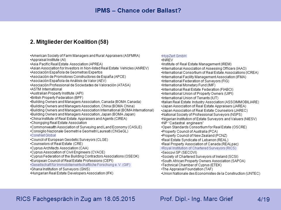 IPMS – Chance oder Ballast? RICS Fachgespräch in Zug am 18.05.2015 Prof. Dipl.- Ing. Marc Grief 4/19 2. Mitglieder der Koalition (58) American Society