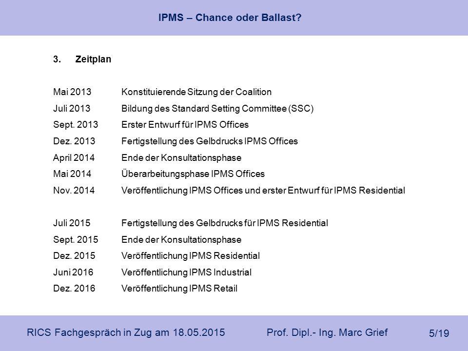 IPMS – Chance oder Ballast? RICS Fachgespräch in Zug am 18.05.2015 Prof. Dipl.- Ing. Marc Grief 5/19 3.Zeitplan Mai 2013Konstituierende Sitzung der Co
