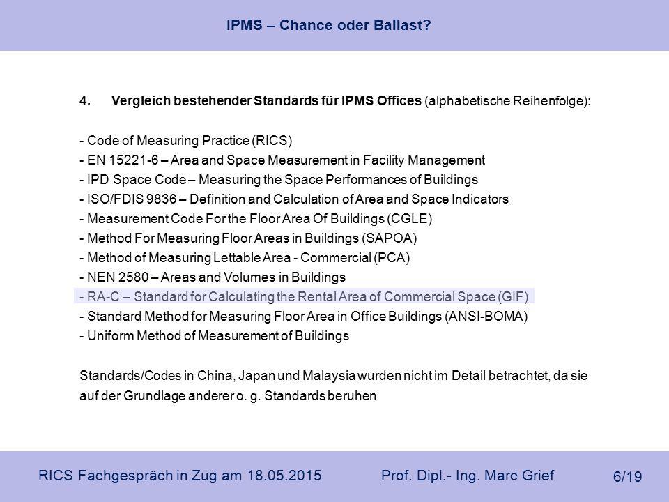 IPMS – Chance oder Ballast? RICS Fachgespräch in Zug am 18.05.2015 Prof. Dipl.- Ing. Marc Grief 6/19 4.Vergleich bestehender Standards für IPMS Office