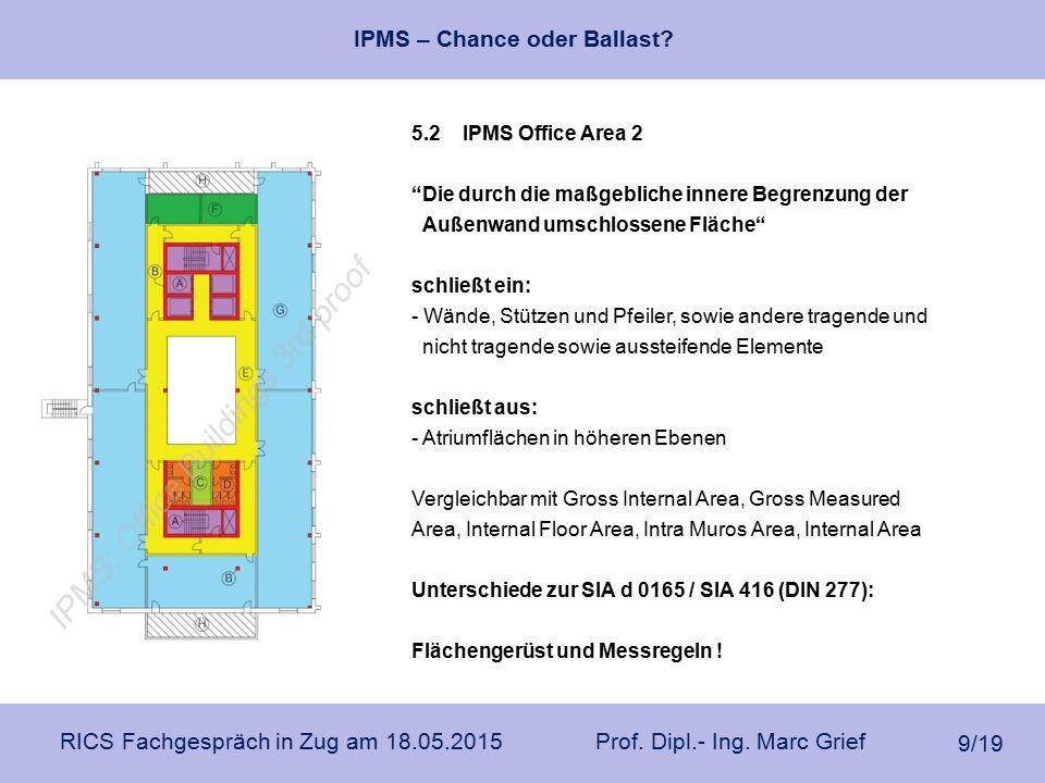 """IPMS – Chance oder Ballast? RICS Fachgespräch in Zug am 18.05.2015 Prof. Dipl.- Ing. Marc Grief 9/19 5.2 IPMS Office Area 2 """"Die durch die maßgebliche"""