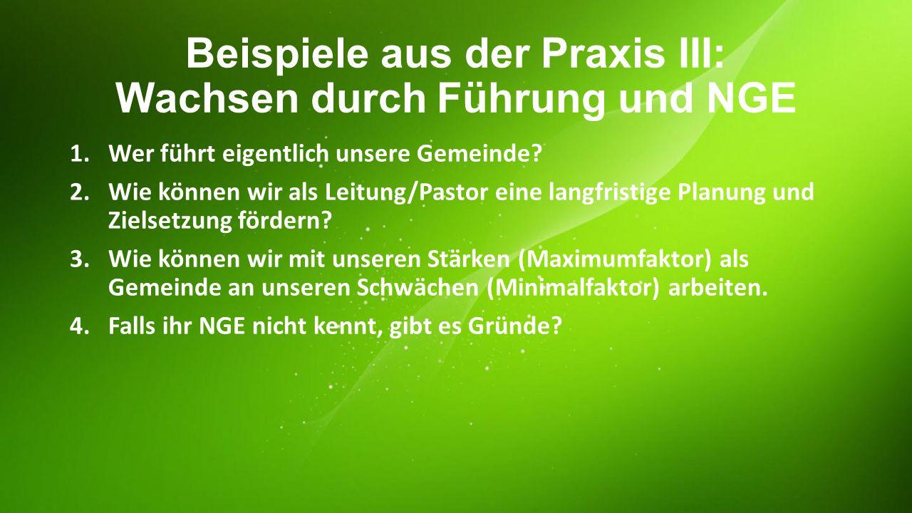 Beispiele aus der Praxis III: Wachsen durch Führung und NGE 1.Wer führt eigentlich unsere Gemeinde? 2.Wie können wir als Leitung/Pastor eine langfrist