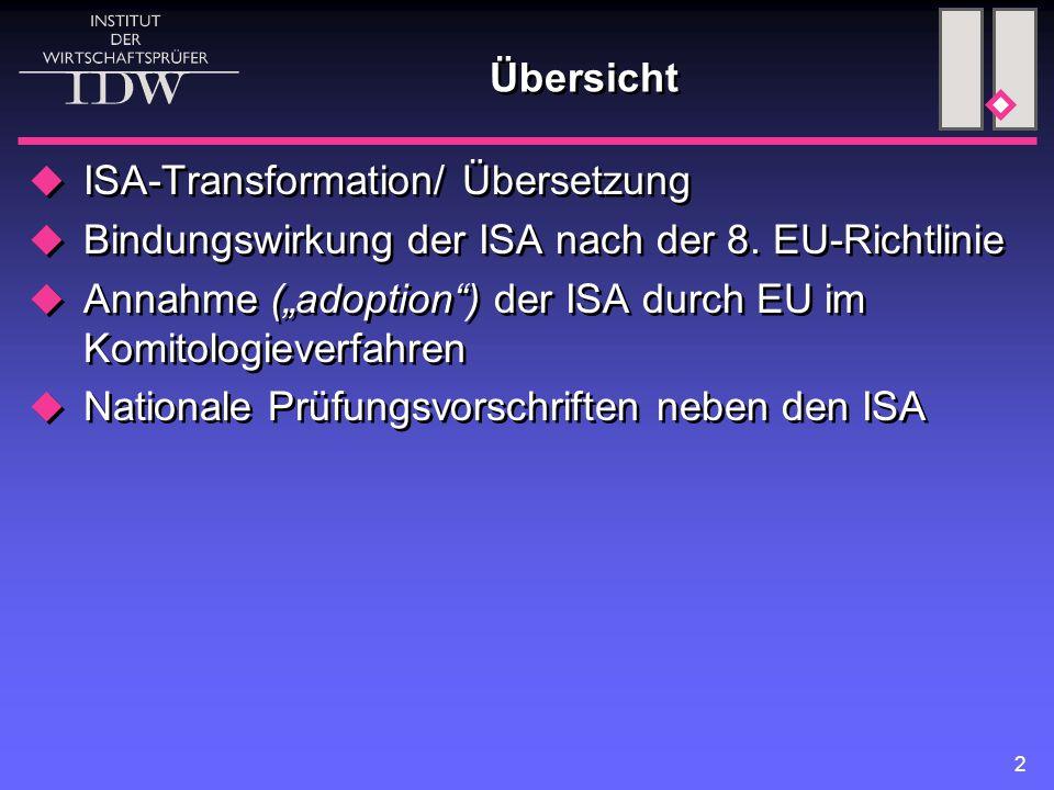 2 Übersicht  ISA-Transformation/ Übersetzung  Bindungswirkung der ISA nach der 8.