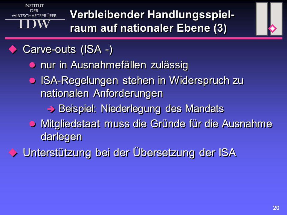 20 Verbleibender Handlungsspiel- raum auf nationaler Ebene (3)  Carve-outs (ISA -) nur in Ausnahmefällen zulässig ISA-Regelungen stehen in Widerspruch zu nationalen Anforderungen  Beispiel: Niederlegung des Mandats Mitgliedstaat muss die Gründe für die Ausnahme darlegen  Unterstützung bei der Übersetzung der ISA  Carve-outs (ISA -) nur in Ausnahmefällen zulässig ISA-Regelungen stehen in Widerspruch zu nationalen Anforderungen  Beispiel: Niederlegung des Mandats Mitgliedstaat muss die Gründe für die Ausnahme darlegen  Unterstützung bei der Übersetzung der ISA