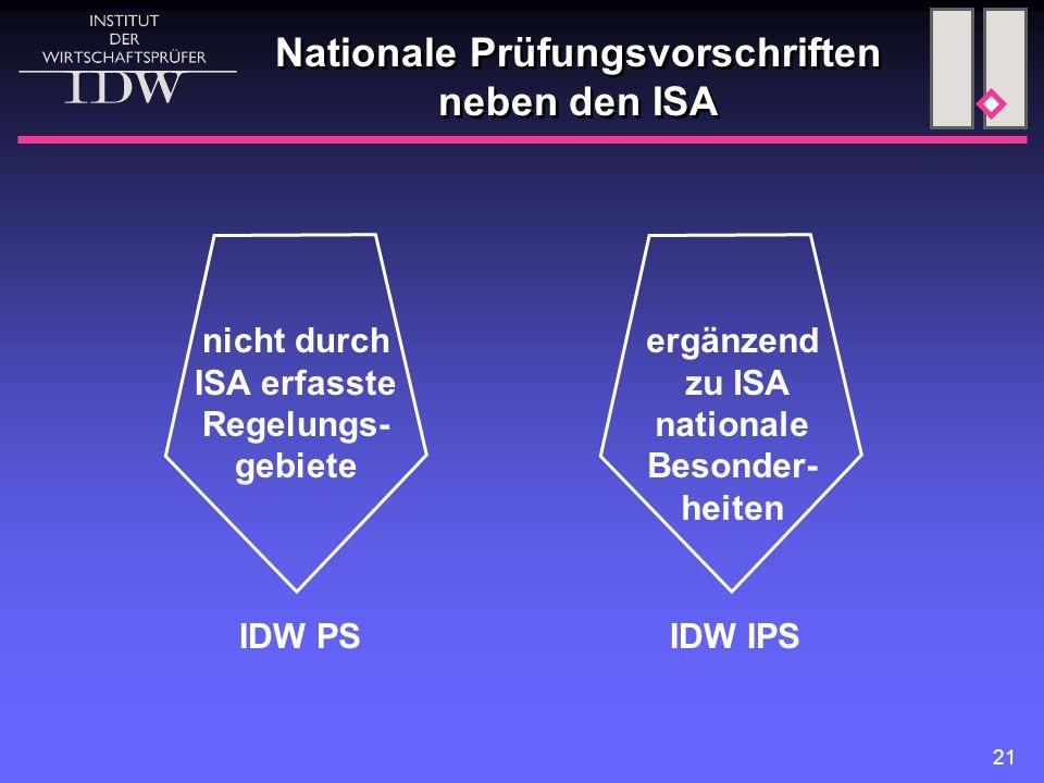 21 Nationale Prüfungsvorschriften neben den ISA nicht durch ISA erfasste Regelungs- gebiete ergänzend zu ISA nationale Besonder- heiten IDW PSIDW IPS