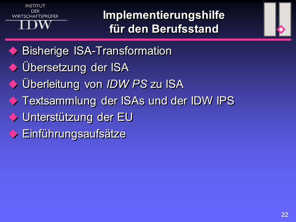22  Bisherige ISA-Transformation  Übersetzung der ISA  Überleitung von IDW PS zu ISA  Textsammlung der ISAs und der IDW IPS  Unterstützung der EU  Einführungsaufsätze  Bisherige ISA-Transformation  Übersetzung der ISA  Überleitung von IDW PS zu ISA  Textsammlung der ISAs und der IDW IPS  Unterstützung der EU  Einführungsaufsätze Implementierungshilfe für den Berufsstand