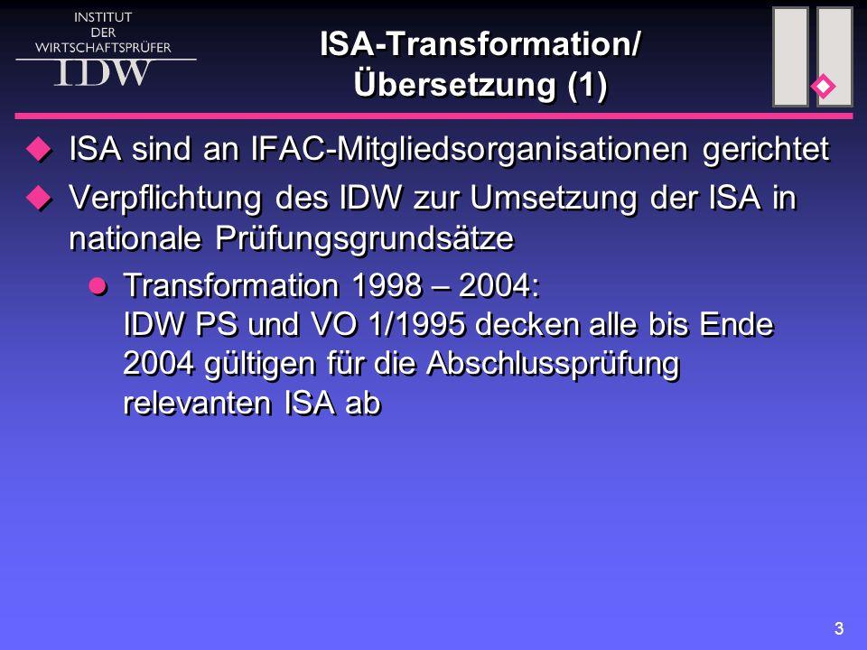 3 ISA-Transformation/ Übersetzung (1)  ISA sind an IFAC-Mitgliedsorganisationen gerichtet  Verpflichtung des IDW zur Umsetzung der ISA in nationale Prüfungsgrundsätze Transformation 1998 – 2004: IDW PS und VO 1/1995 decken alle bis Ende 2004 gültigen für die Abschlussprüfung relevanten ISA ab  ISA sind an IFAC-Mitgliedsorganisationen gerichtet  Verpflichtung des IDW zur Umsetzung der ISA in nationale Prüfungsgrundsätze Transformation 1998 – 2004: IDW PS und VO 1/1995 decken alle bis Ende 2004 gültigen für die Abschlussprüfung relevanten ISA ab
