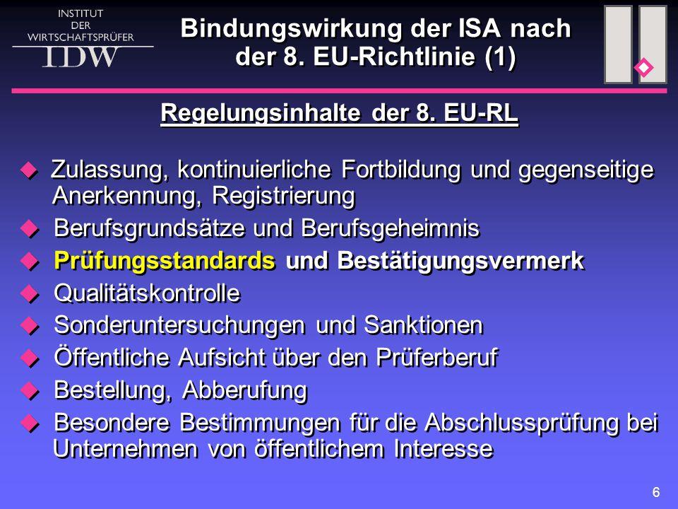 6 Bindungswirkung der ISA nach der 8. EU-Richtlinie (1) Regelungsinhalte der 8.