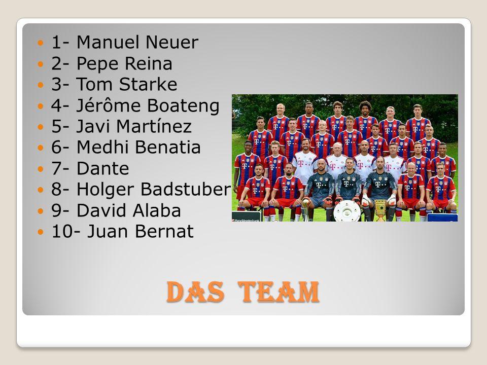 Das TEAM 1- Manuel Neuer 2- Pepe Reina 3- Tom Starke 4- Jérôme Boateng 5- Javi Martínez 6- Medhi Benatia 7- Dante 8- Holger Badstuber 9- David Alaba 1