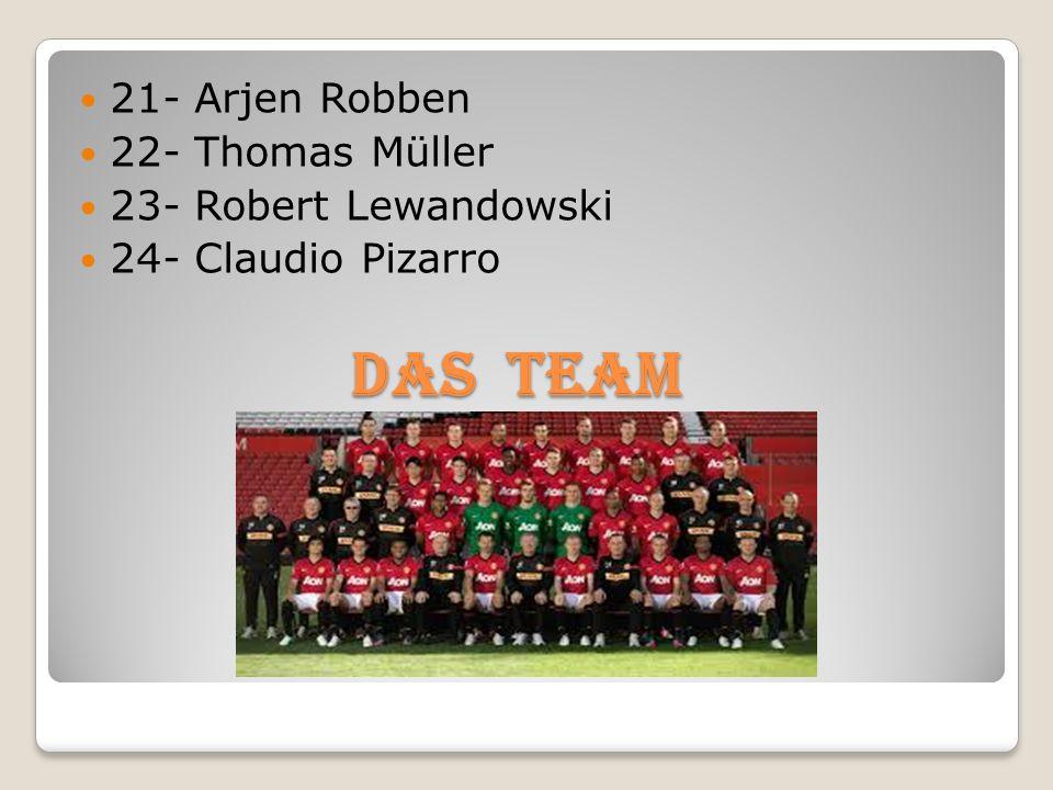 21- Arjen Robben 22- Thomas Müller 23- Robert Lewandowski 24- Claudio Pizarro Das TEAM