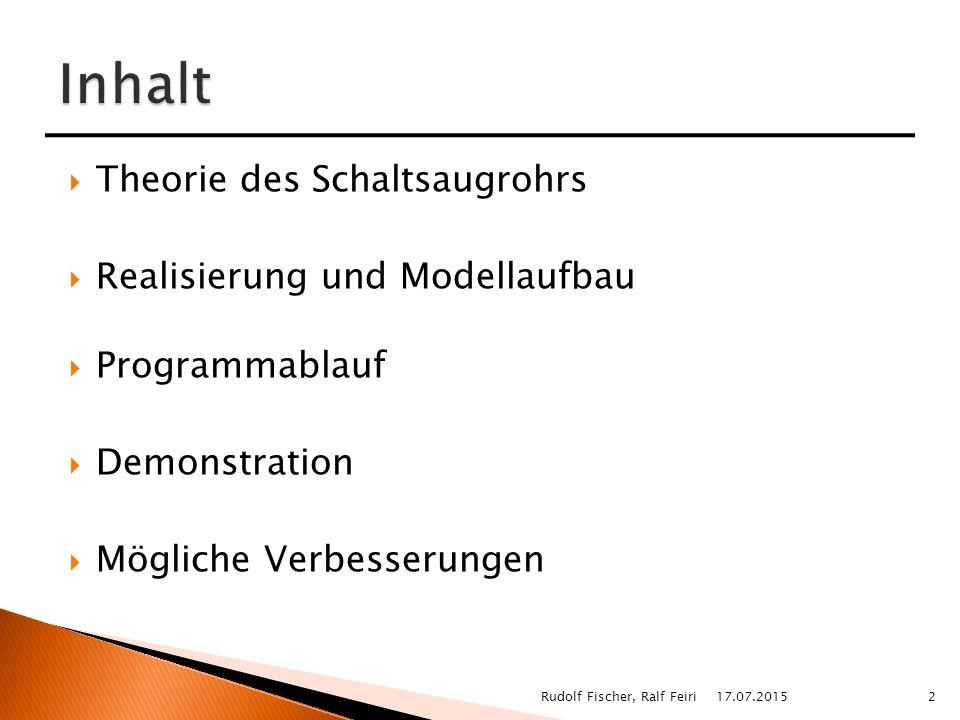  Theorie des Schaltsaugrohrs  Realisierung und Modellaufbau  Programmablauf  Demonstration  Mögliche Verbesserungen 17.07.20152Rudolf Fischer, Ralf Feiri