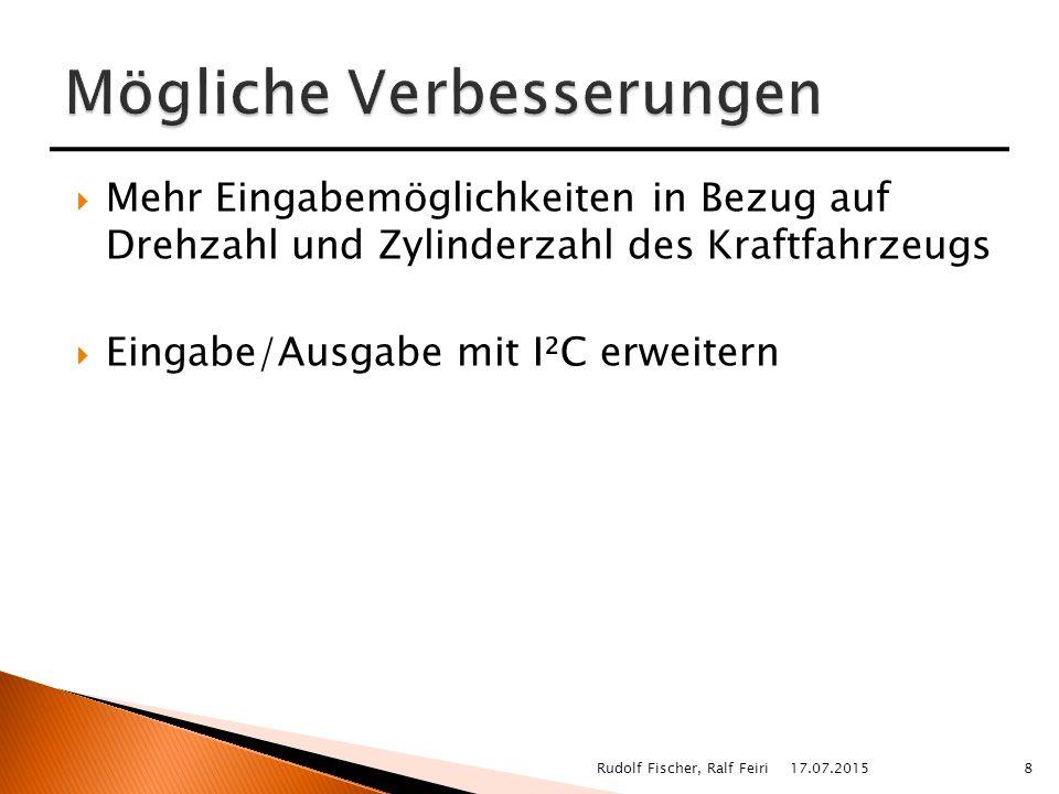  Mehr Eingabemöglichkeiten in Bezug auf Drehzahl und Zylinderzahl des Kraftfahrzeugs  Eingabe/Ausgabe mit I²C erweitern 17.07.20158Rudolf Fischer, Ralf Feiri