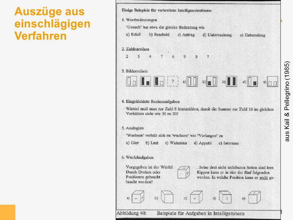 18 Auszüge aus einschlägigen Verfahren aus Kail & Pellegrino (1985)