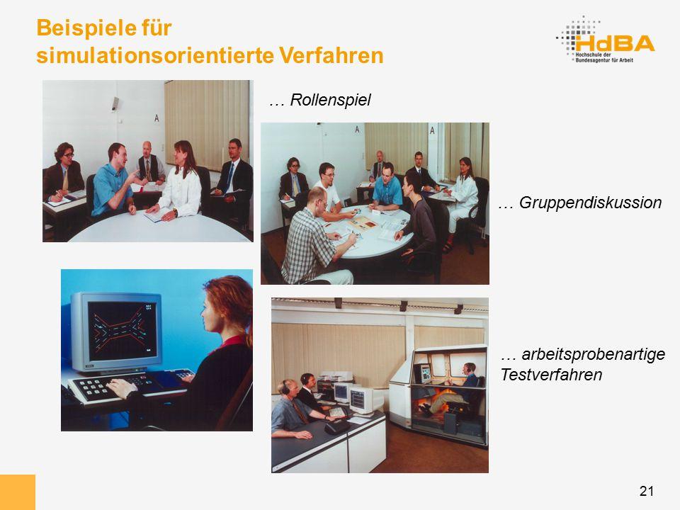 21 Beispiele für simulationsorientierte Verfahren … Rollenspiel … Gruppendiskussion … arbeitsprobenartige Testverfahren