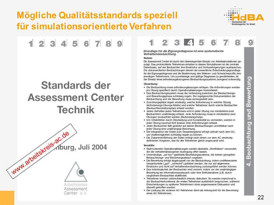 22 Mögliche Qualitätsstandards speziell für simulationsorientierte Verfahren www.arbeitskreis-ac.de
