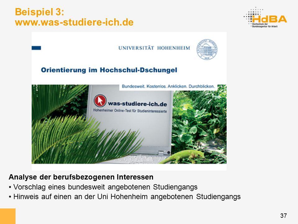 37 Beispiel 3: www.was-studiere-ich.de Analyse der berufsbezogenen Interessen Vorschlag eines bundesweit angebotenen Studiengangs Hinweis auf einen an der Uni Hohenheim angebotenen Studiengangs