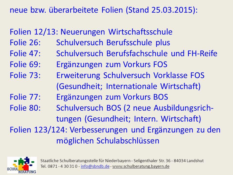 Zugangsvoraussetzungen für den Bildungsgang DBFH Staatliche Schulberatungsstelle für Niederbayern - Seligenthaler Str.