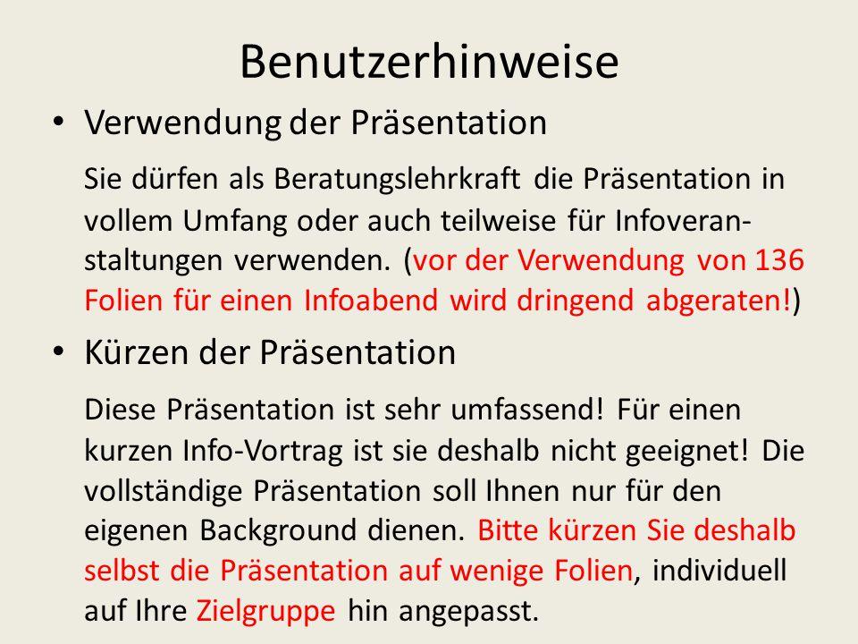 Benutzerhinweise Hinweis auf Aktualität Bitte beachten Sie den jeweiligen Aktualitätstand dieser Präsentation.