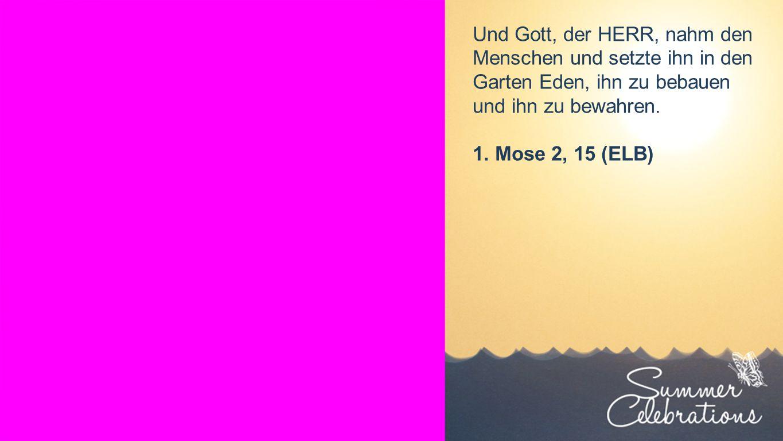 Seiteneinblender Und Gott, der HERR, nahm den Menschen und setzte ihn in den Garten Eden, ihn zu bebauen und ihn zu bewahren.